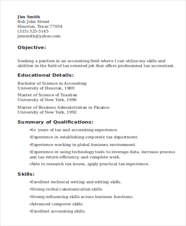 Tax Accountant Job Resume