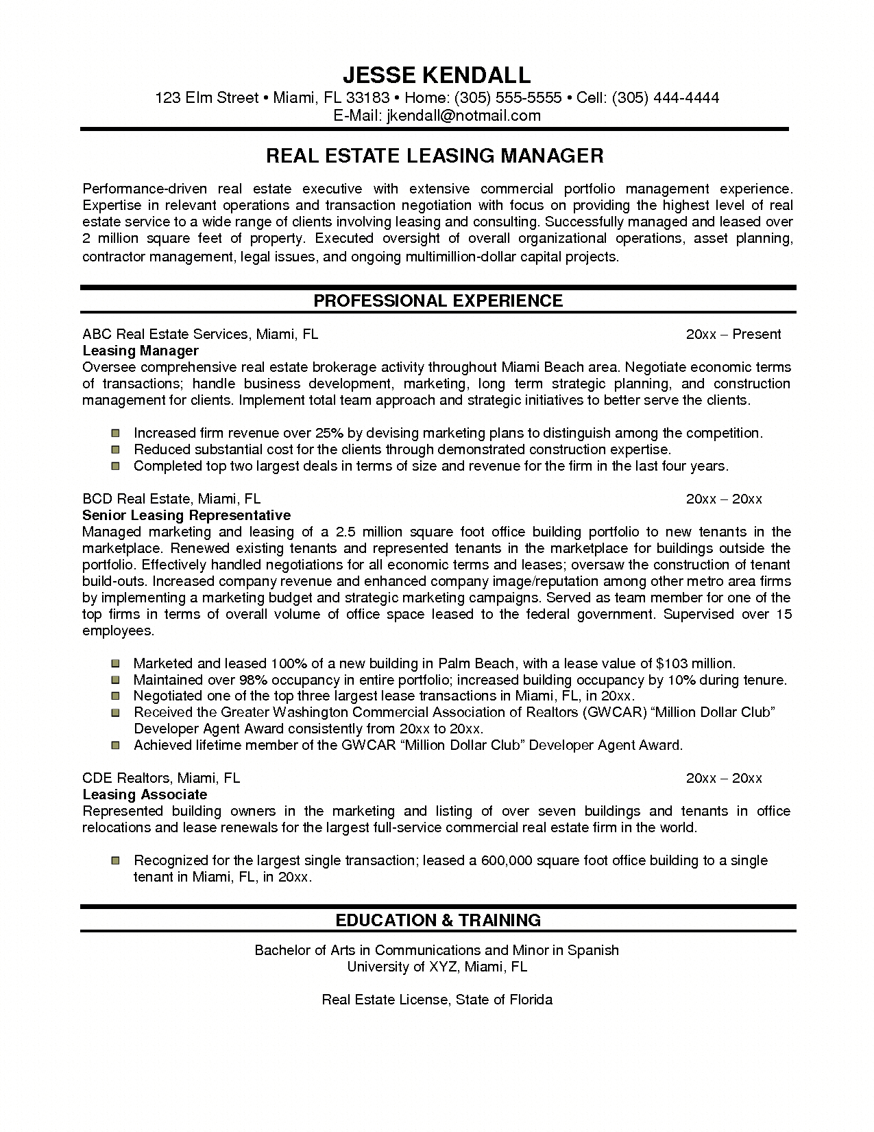 commercial property manager resume samples