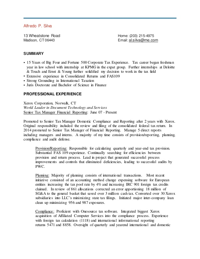 resume tax manager
