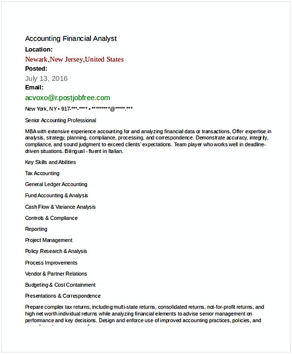 financial analyst resume sample