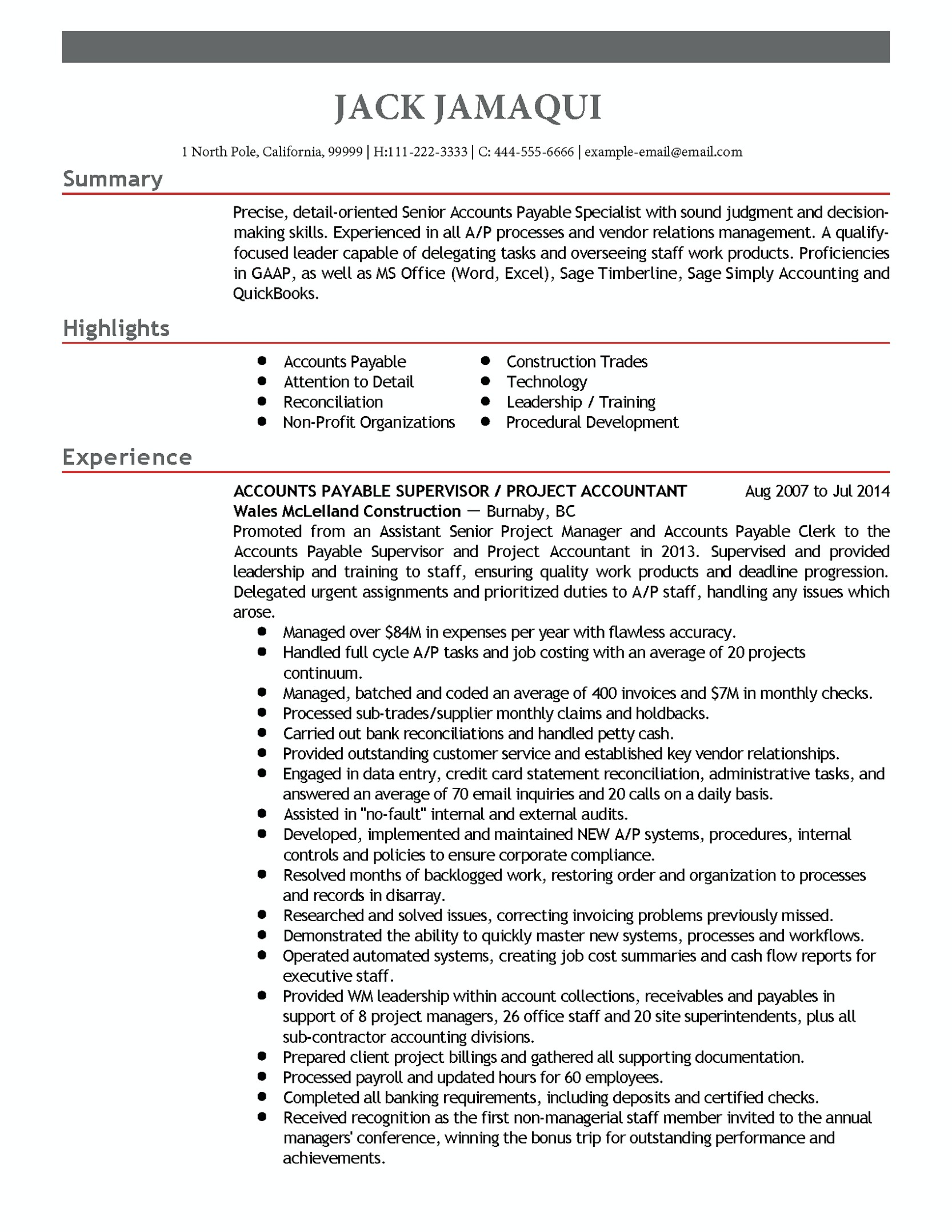 Accounts Payable Manager Resume