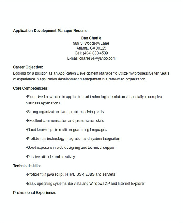 Application Development Manager Resume