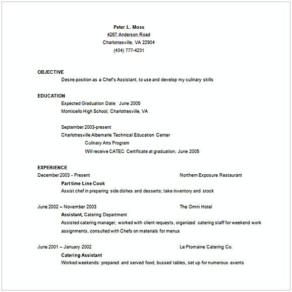 Assistant Chef Resume Word Template