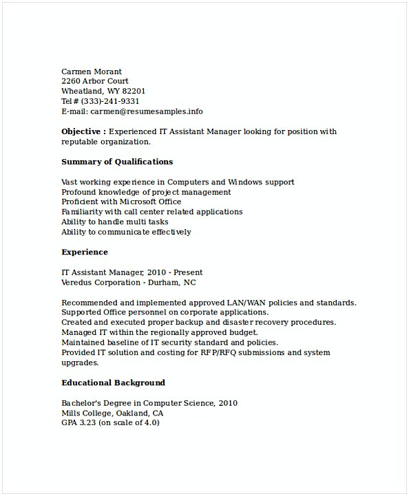 Assistant IT Manager Resume