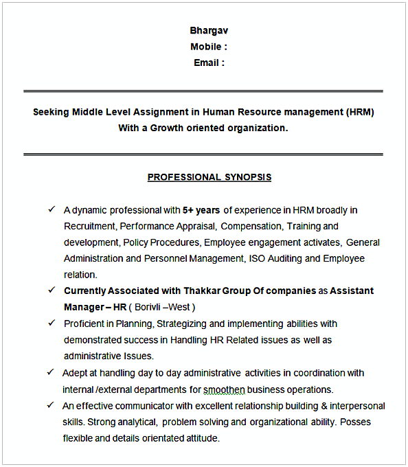 Assistant Manager HR Sample Resume