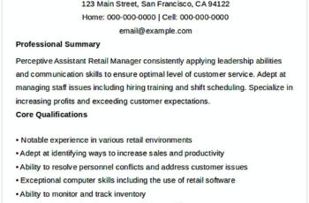 Assistant Retail Manager Resume