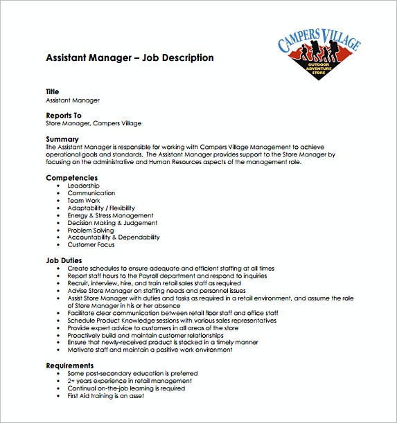 Assistant Store Manager Job Description Free Template