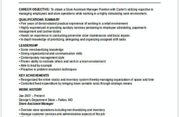 Assistant Store Manager Resume 2