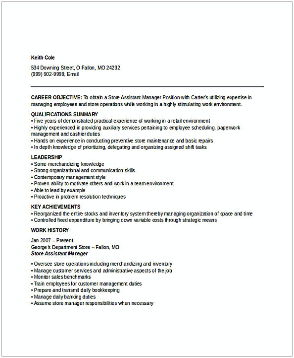 Assistant Store Manager Resume 2  Assistant Store Manager Resume