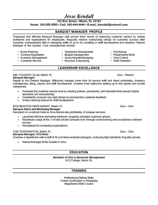 Banquet Manager Resume template
