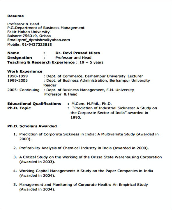 Business Resume template example