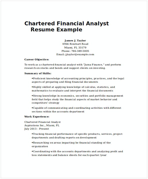 Chartered Financial Analyst Resume Example 1