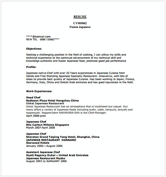 Commis Chef Resume Template