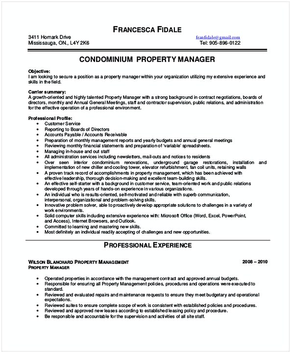 Condomium Property Manager Resume  Assistant Property Manager Resume