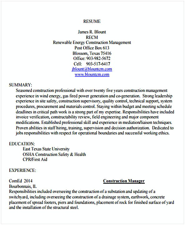 Construction Resume template example