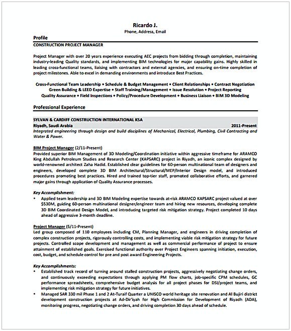 Construction Entry Level Project Manager Resume  Entry Level Project Manager