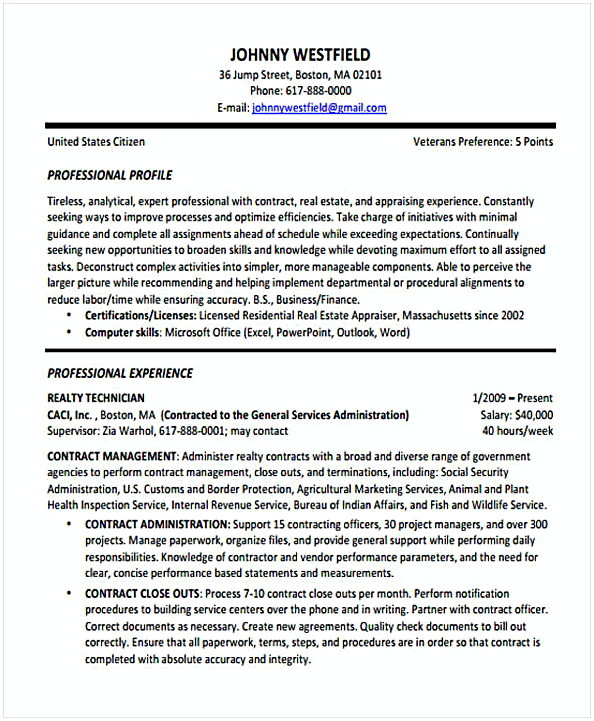 Contract Resume template