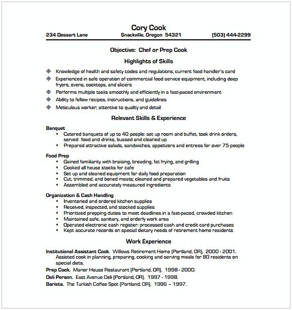 Cook Chef Resume
