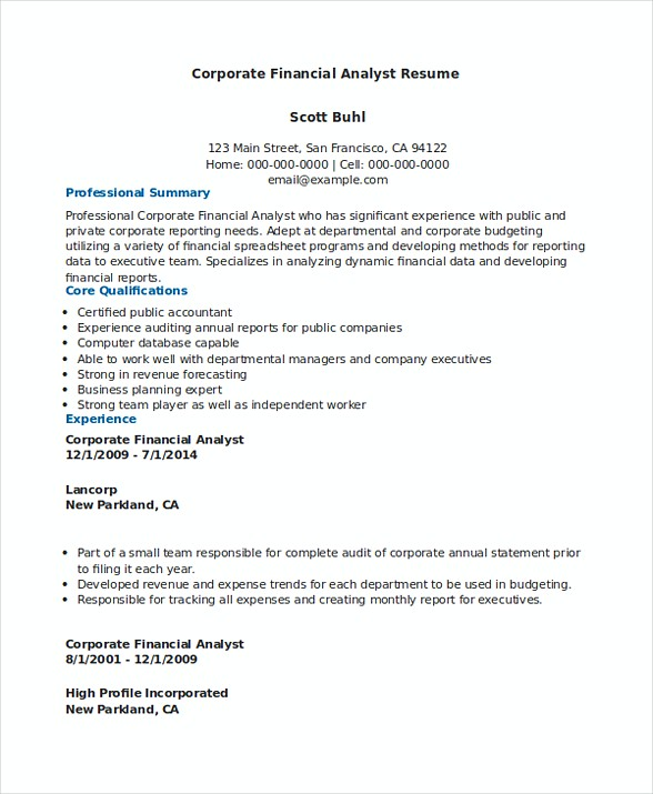 Corporate Financial Analyst Resume Sample