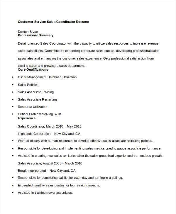 Customer Service Sales Coordinator Resume