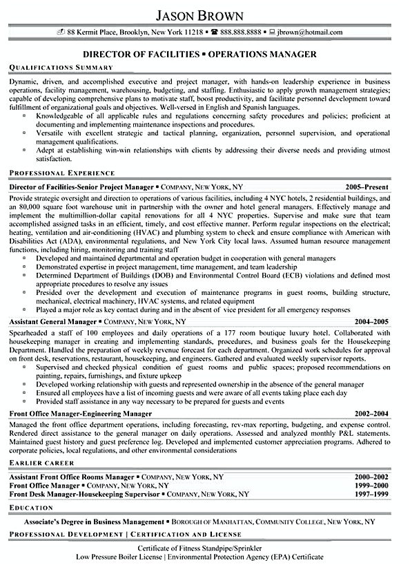 Director of Facilities Director of Facilities Resume Example