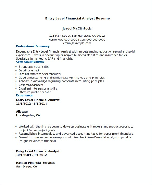 Download Entry Level Financial Analyst Resume