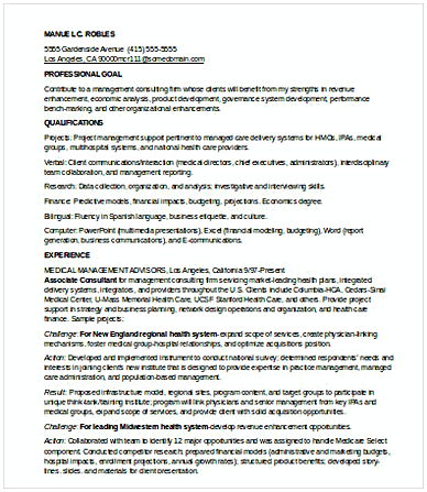 Entry Level Management Consulting Resume