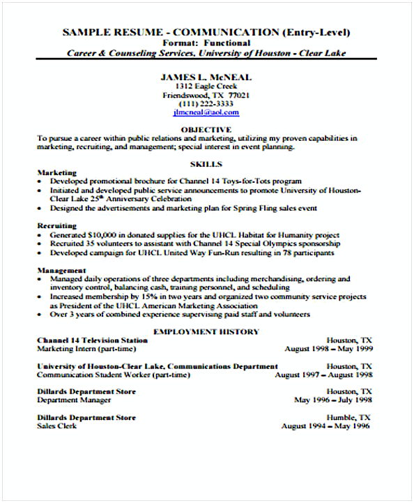 Entry Level Management template