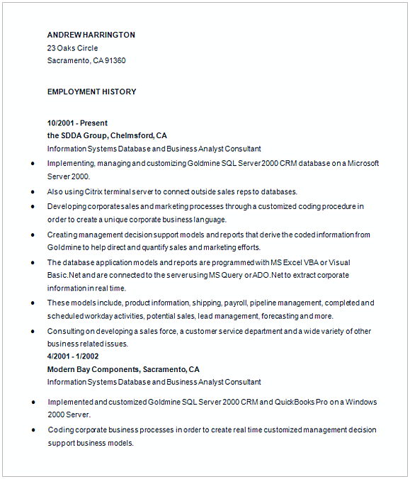 Experience Business Analyist Resume 1