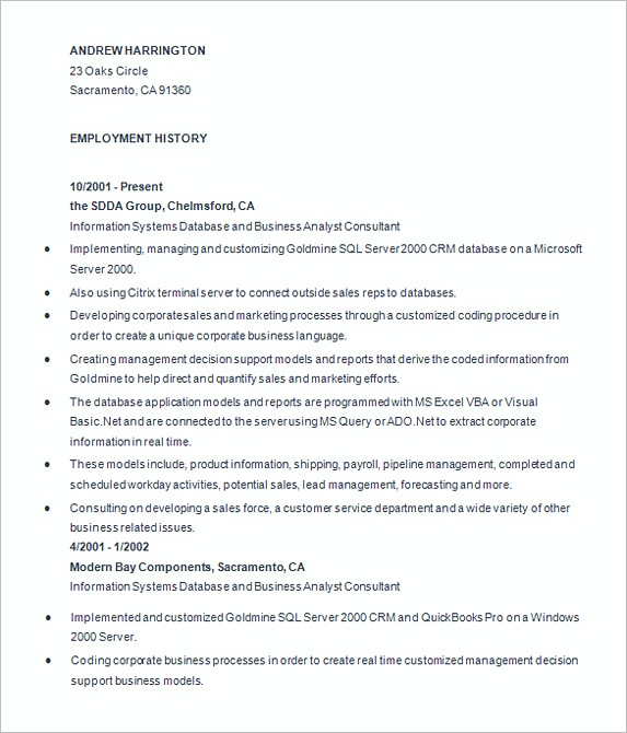 Experience Business Analyist Resume