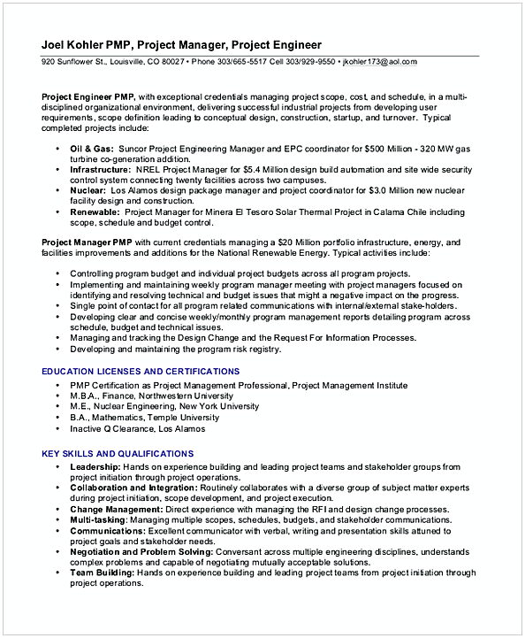 Experience entry level project Management Resume