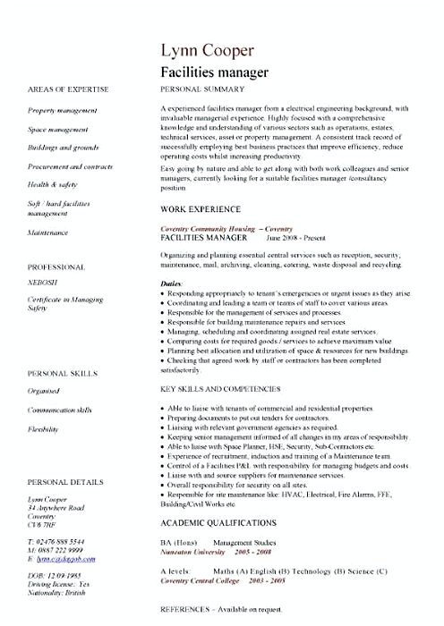 Facility Manager Resume sample