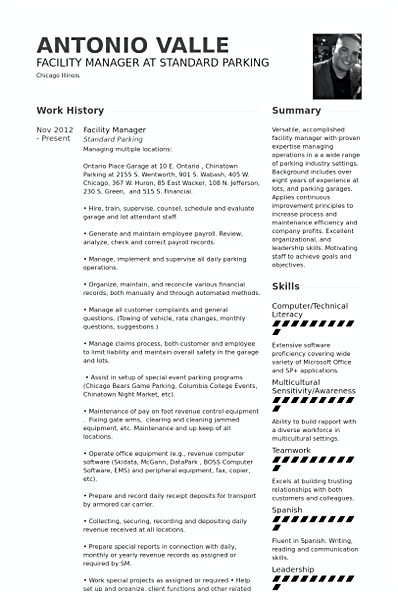 Facility Manager Resume template