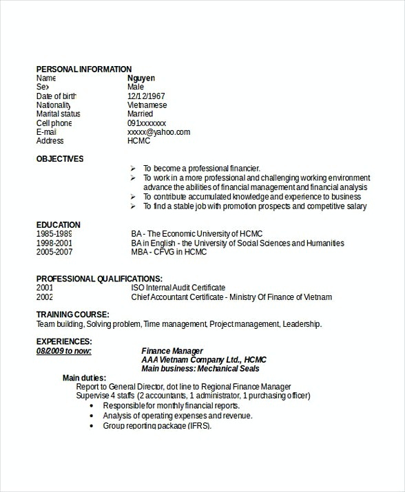 Finance Manager Resume Doc