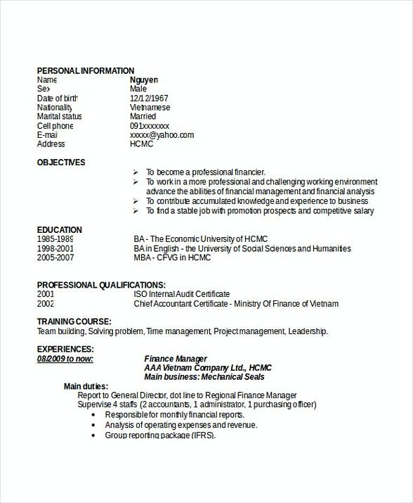 Finance Manager Resume Doc