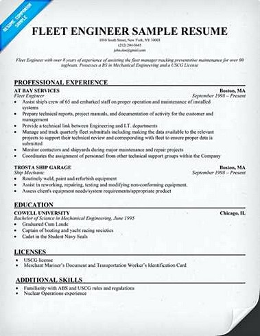 Fleet Enginer Resume