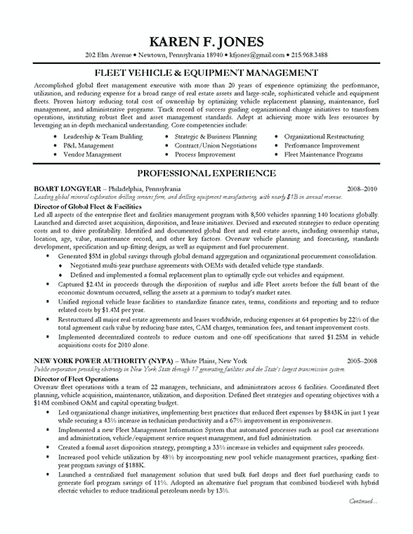 Fleet Vehicle Resume