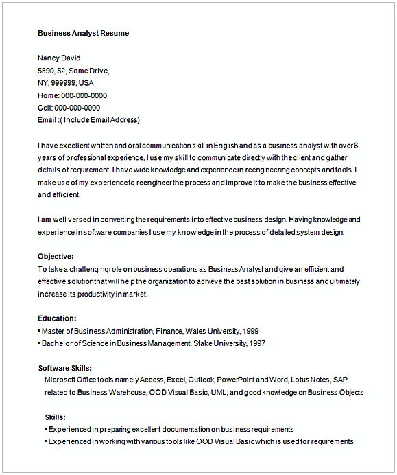 Free Business Analyist Resume Template 1