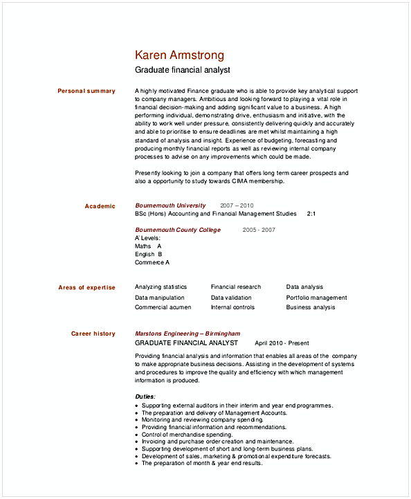Graduate Financial Analyst Resume Template 1