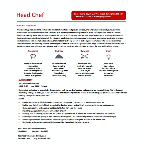 Head Chef Resume