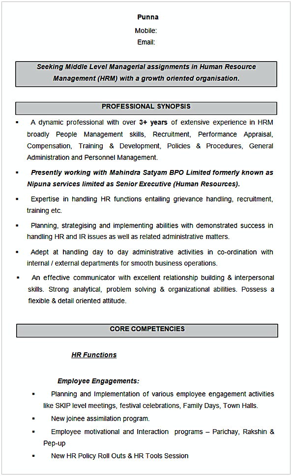 Human Resource Management Sample Resume