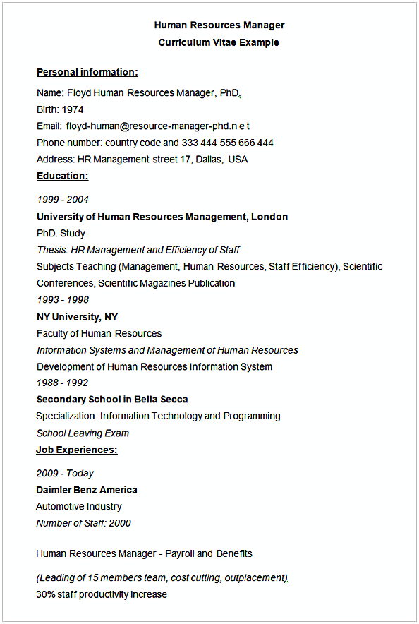 hr manager resume sample