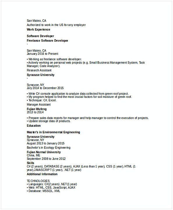 IT Software Developer Resume