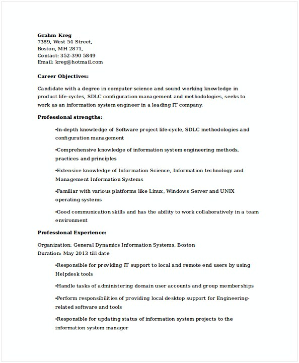 IT System Engineer Resume