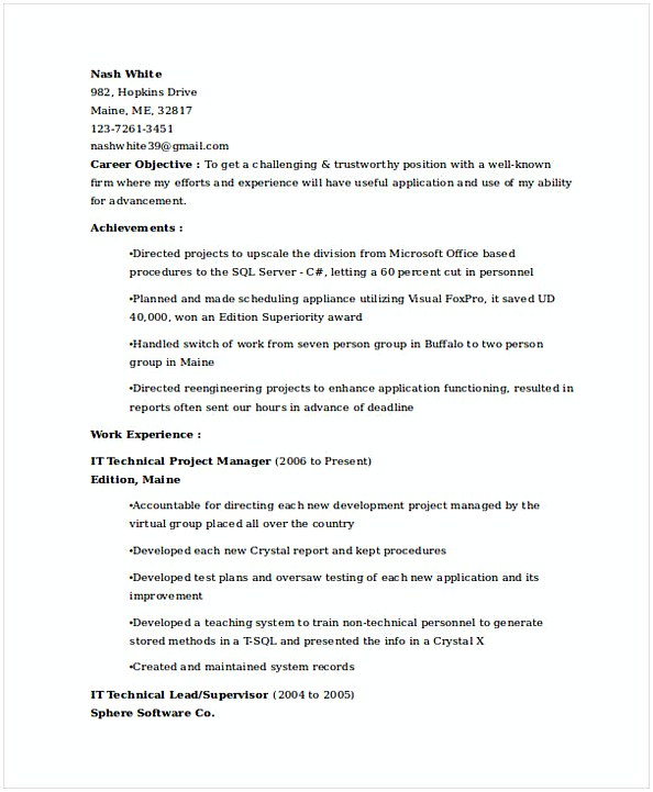 IT Technical Project Manager Resume