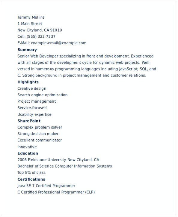 IT Web Developer Resume