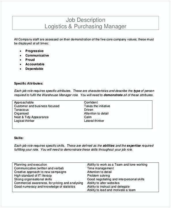 Job Description Logistics Purchasing Manager Template