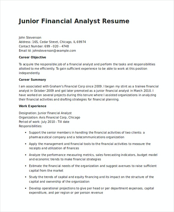Junior Financial Analyst Resume In Word  Junior Financial Analyst Resume