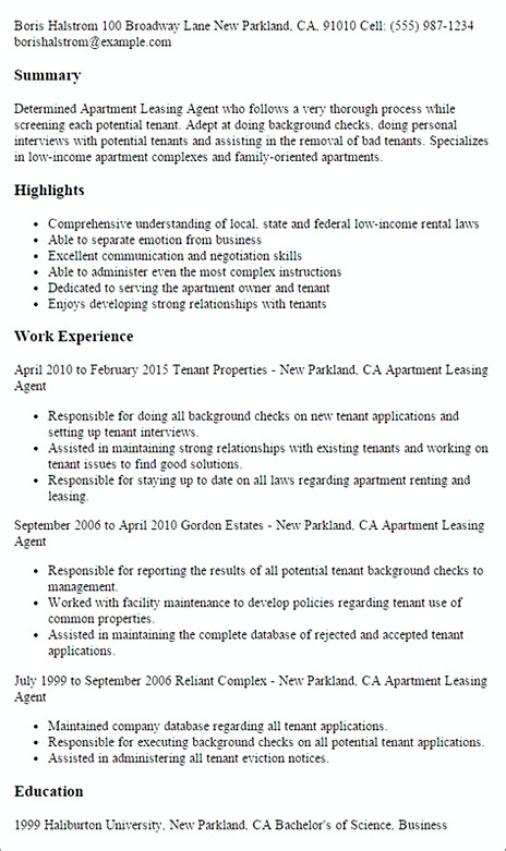 Leasing consultant resume sample