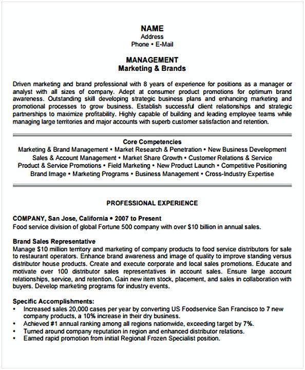 Marketing Resume template sample